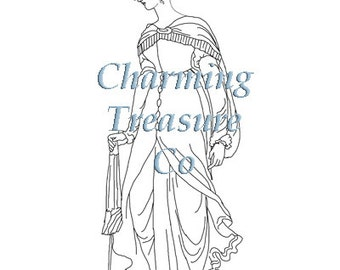 Jane Austen era COLORING PAGE for Adults