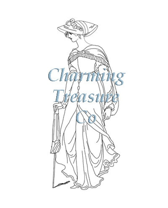 Jane austen era coloring page for adults for Jane austen coloring pages