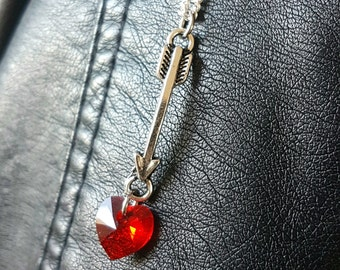 Siam Swarovski Crystal Heart & Arrow Connector on Sterling Silver Necklace