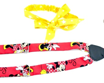 Newborn bowtie and suspenders red Minnie Mouse, Toddler bow tie and suspenders red minnie mouse