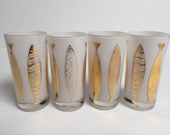 Vintage Fred Press Glassware w/ Fish Design (4)
