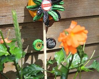 Recycled Bottle Cap Flower Garden Ornament