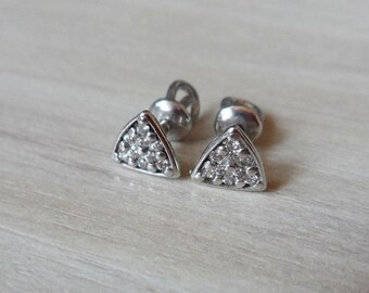 Handcrafted 925 Sterling Silver Pyramid Diamond Cluster Screw Back Earrings