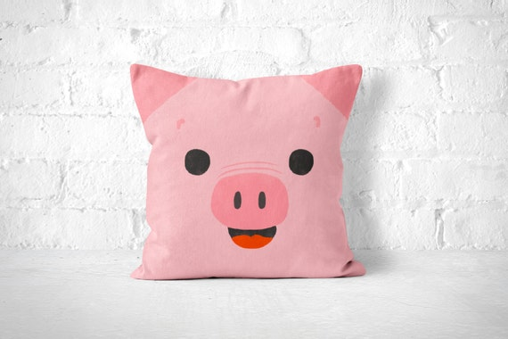Pig Throw Pillow Kids Throw Pillow Animal Nursery Decor
