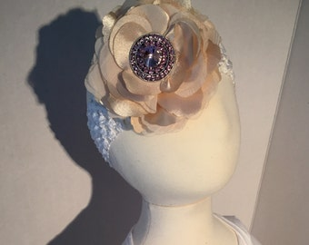Champagne Flower with Pink Crystal Accent Headband
