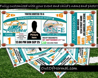 SALE! Miami Dolphins Themed Birthday Invitation Tickets - Football Birthday Invitations - Personalized and customized TRENDING