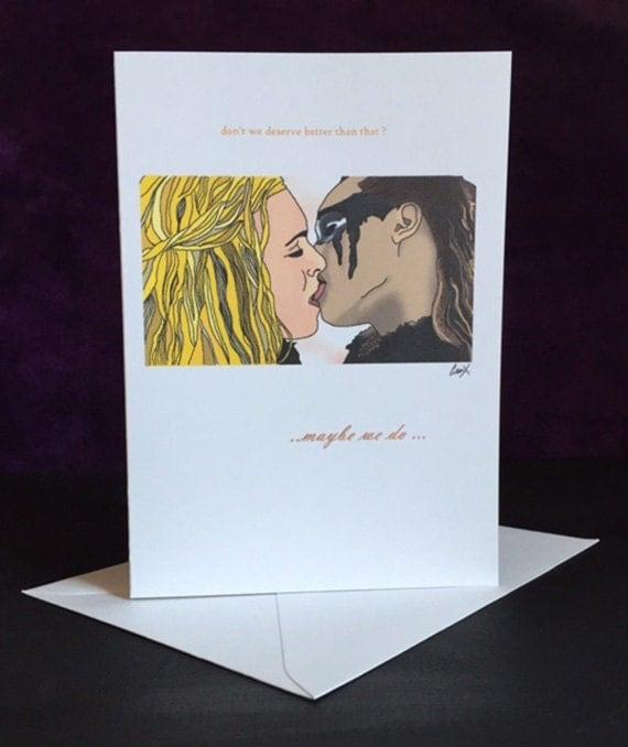 Clexa greetings card first kiss lexa clarke