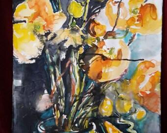 ORANGE poppy watercolor 60 x 80 cm