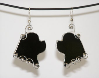 Newfoundland Dog Earrings, Unique Stained Glass Jewelry, lace earrings, Tiffany technique, Gift for her, Black and Silver
