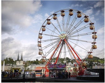 Ferris Wheel, Carnival Photography Switzerland, kids room decor, photography wall art home decor