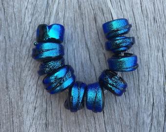 Blue Dichroic Beads, Dichroic Glass Beads, Scroll Beads, Handmade Lampwork, Lampwork Glass Beads, OOAK Dichroic Glass Beads, SRA Lampwork