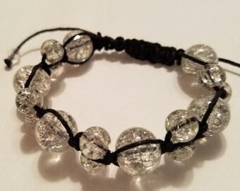 Clear Shamballa-Style Black Corded Bracelet
