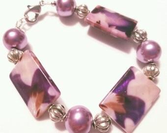 Purple Floral Beaded Bracelet