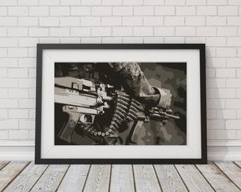 LARGE PRINT M60 Machine Gun / Assault Rifle / Ammunition Belt / Belt Fed Ammunition / 2nd Ammendment / Gift for Gun Lover