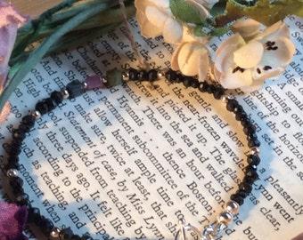 Jet Black Spinel, Tourmaline Beads Sterling Silver Bracelet
