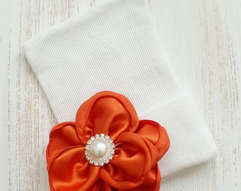 Baby girl newborn hat with Pumpkin satin flower- newborn hospital hat, newborn beanie, baby girl newborn, pumpkin baby hat, baby shower gift