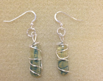 silver wire wrapped glass dangle earrings