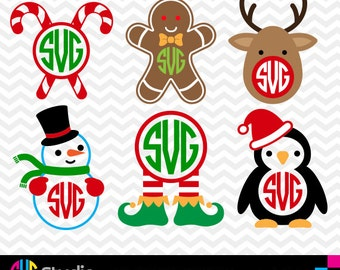 CHRISTMAS MONOGRAM SVG Files, Silhouette, Die Cut, Vinyl Cutter, Monogram, Screen Printing svg#018
