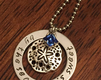 Coastal necklace, personalized hand-stamped beach necklace, birthstone necklace, sand dollar necklace