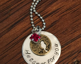 "sparrow faith necklace, ""He care for you"" necklace, birthstone jewelry, hand stamped necklace, Christian jewelry"