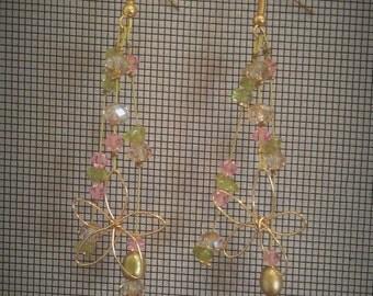 Boho Wedding Crystal and Pearl Earrings