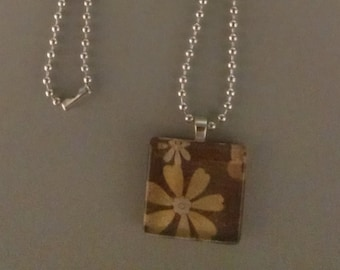 SALE - Brown with Flowers Glass Tile Necklace
