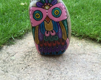 Hand painted rock funky owl