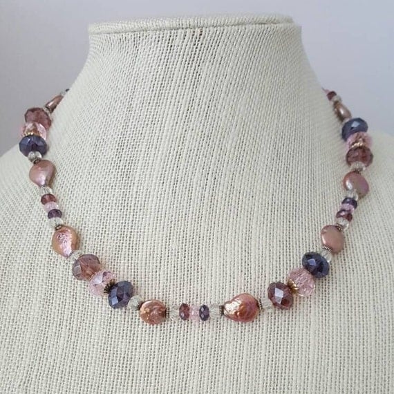 Pink and gray pearl necklace with flat freshwater pearls