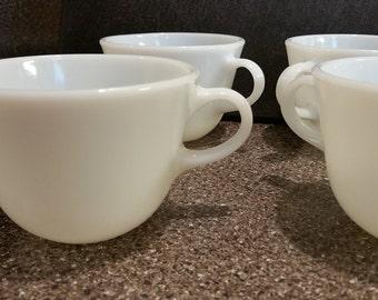 4 Pyrex milk glass cups