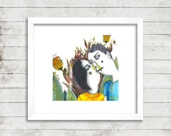 Kissing Couple in Forest Illustration, Art Print