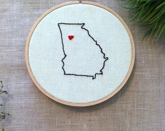 Georgia Map GPS Coordinate Embroidery Hoop, 2nd Year Wedding Anniversary, Home State, Hand Embroidery Hoop Christmas, Embroidery Hoop Home