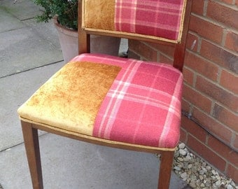 Uniquely reupholstered chair, perfect for a desk or anywhere that a single chair is required, velvet and plaid, tartan fabric