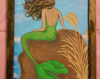 Mermaid on cliff. Acrylic on canvas, framed.