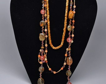Three-Tier Beaded Necklace - Crochet and Varied Bead Chain