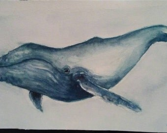 """Single Humpback Whale Painting, """"Humpback"""", Whale Painting, Whale Art, 11""""x 5.5"""""""