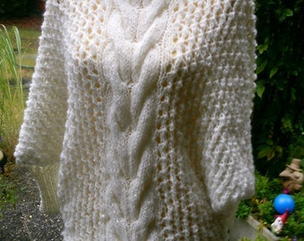 Poncho sweater, white, sequin wool, Gr. 36-38 (S-m)