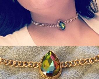 Adella Gold Link Mermaid Stone Choker