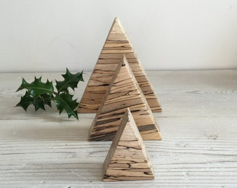 Wooden christmas decorations, set of 3 tree shapes, christmas ornament, xmas decorations, minimalist, natural, handmade, unique,