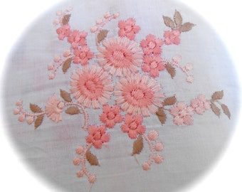 1 x applied or COUPON braid old Textile, pretty Floral pattern embroidered in two shades of Pink salmon 10 x 10 CM / ref 0027