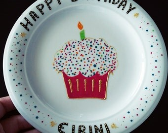Happy Birthday Plate - Made to Order - handmade hand painted