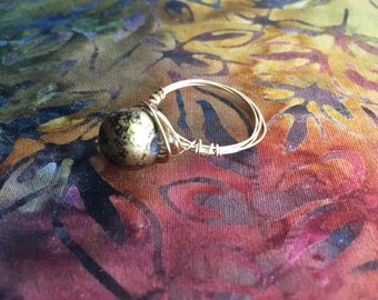 Black and Gold Birds Nest Ring