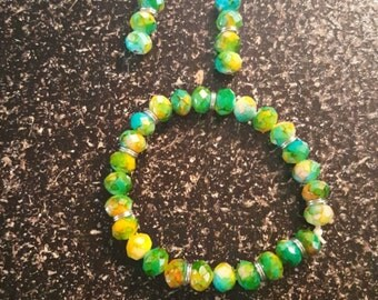 Crystal bead bracelet and Earrings