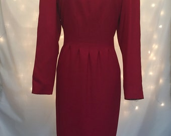 Red Vintage Long Sleeve Modest Midi Work Dress