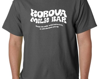 A CLOCKWORK ORANGE - Korova Milk Bar - T-shirt - Stanley Kubrick - Creepy Bar in Cult Classic Film - Screen Printed