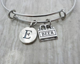 Beer Bracelet, Beer Bangle,Charm Bangle,Charm Bracelet,Gift For Women,Initial Bracelet,Personalized Jewelry,Wedding Favors,Jewelry