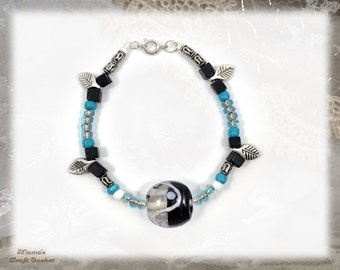 """Black and Blue Yin Yan Silver Leaf Bracelet, 7"""", Homemade, Round, Jewellery, Glass, Beads, Women's, Men's, Leaves, Translucent"""