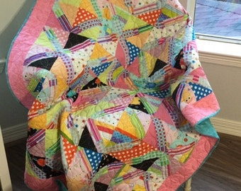 Lap Throw size quilt-  Full of fun with dots and stripes