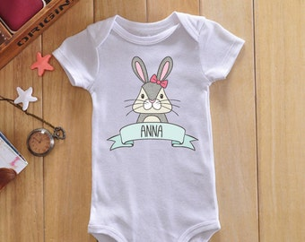 Bunny baby onesie, custom baby onesie, custom baby gift, custom baby clothes, personalized onesie, personalized baby clothes, baby name