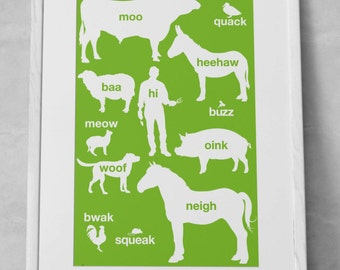 The Children's Guide To Farm Animal Sounds 11x17 Customizable Art Print