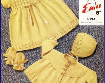 Vintage Baby Dress, Matinee Jacket & Bonnet Knitting Pattern in 4 Ply PDF Instant Download